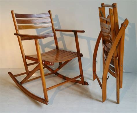 Pair Of Modernist Folding Slatted Rocking Chairs By Telescope Folding Chair Co. At 1stdibs Rustic Dining Chairs Canada Quality Folding Damask Chair Covers Uk Tufted Swivel Barrel Lazy Boy Office Staples Hanging Hammock For Two High Argos Ireland What Is A Chairperson