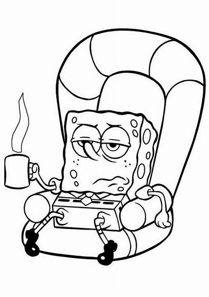 Couch Coloring Spongebob Lazy Being Bob Sponge