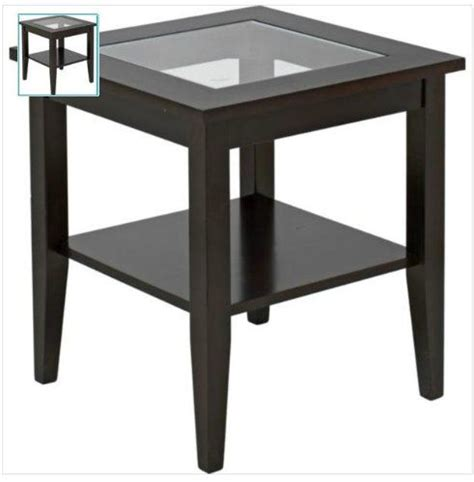 ashcroft wood veneer end table with glass furniture