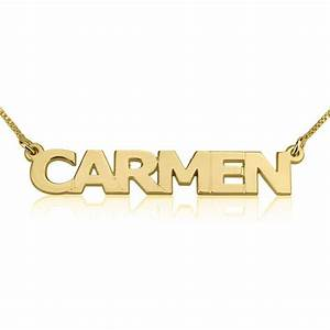 24k gold plated block letters name necklace onecklace for Block letter name necklace