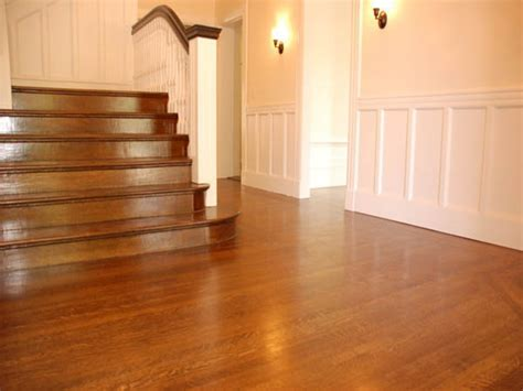 Bamboo wood floors, wood stained base boards with hardwood