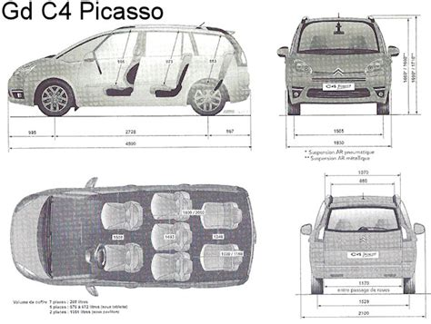 dimension coffre citroen c4 picasso images