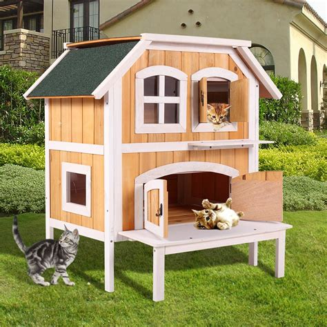 ktaxon  story wooden raised indoor outdoor cat house