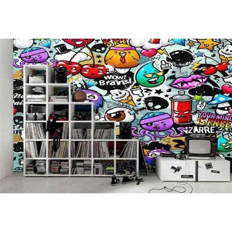 papier peint design graffiti personnages tapis chic le