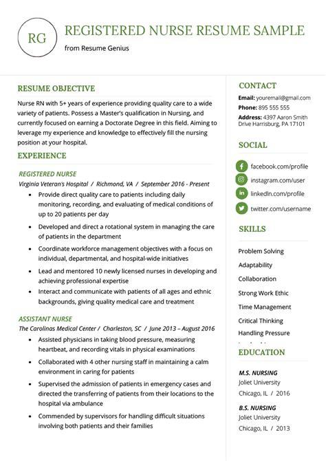 nursing resume sample writing guide resume genius