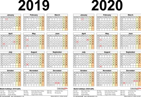 Two Year Calendars For 2019 & 2020 (uk) For Word