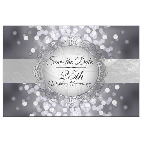 Save the Date Postcard Silver 25th Anniversary Bokeh