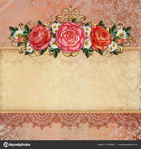 golden vintage background flower garlands  pastel