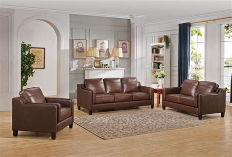 acorn brown  piece leather living room set  amax