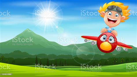Cartoon Pilot Boy On A Airplane Flying Over Green Hill