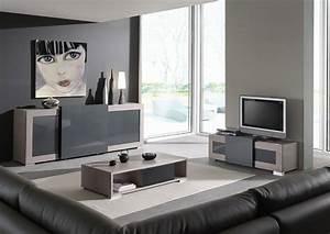 Meuble tv couleur chne gris clair ou gris anthracite laqu for Idee deco cuisine avec meuble salle a manger complete contemporain