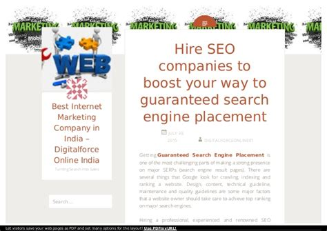 Search Engine Placement by Guaranteed Search Engine Placement