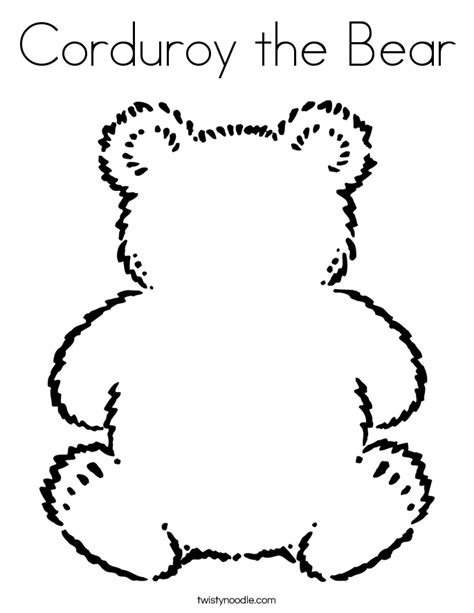 corduroy  bear coloring page twisty noodle