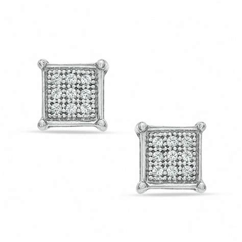 diamond accent square stud earrings  sterling silver
