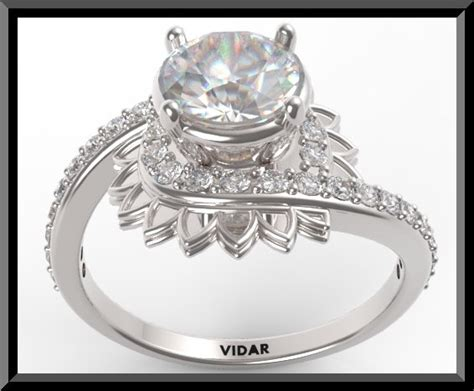 brilliant moissanite flower shaped engagement ring with diamond ebay