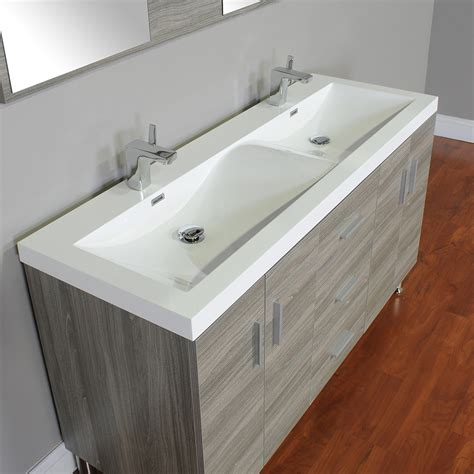 alya    double modern bathroom vanity gray