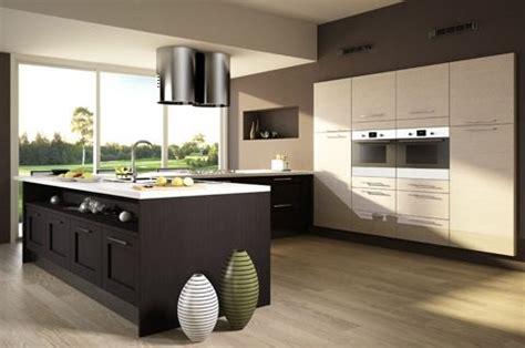 cuisine encastree cuisine shaker polymère effet bois mobilier décoration