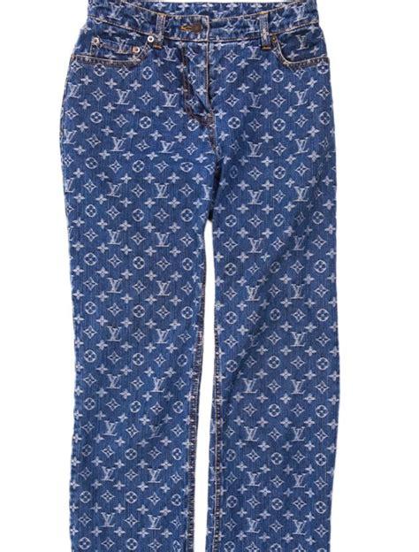 louis vuitton denim logo monogram blue jeans  stdibs