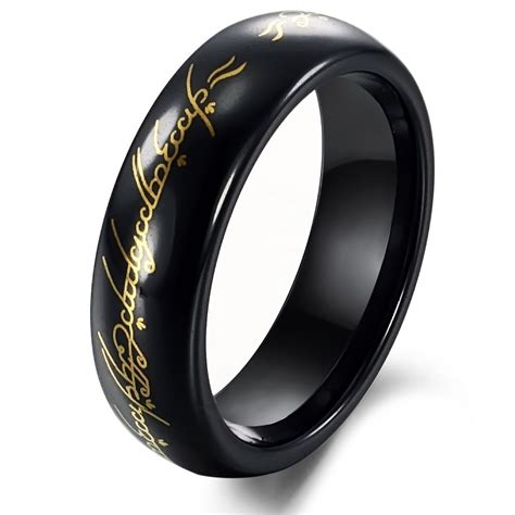 tungsten black gold lord  ring mens ring size