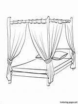 Coloring Bed Pages Canopy Para Bedroom Cama Colorir Drawing Furniture Colouring Printable Dossel Getdrawings Desenhos Imprimir Getcolorings Fond Bedtime Imagem sketch template
