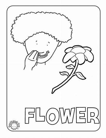 Language Sign Coloring Asl Pages Flower American