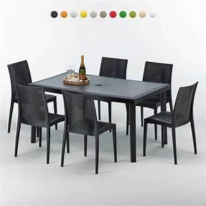 Tisch Mit 6 Stühlen Günstig : polyrattan tisch rechteckig mit 6 bunten polyrattan st hlen 150x90 schwarz ~ Bigdaddyawards.com Haus und Dekorationen