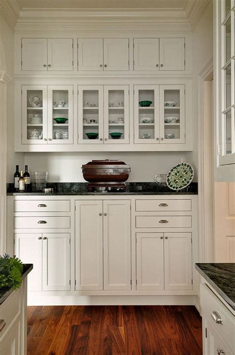 butlers pantry white inset cabinets dark counter glass