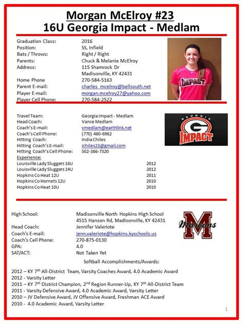 image result  player profile sheet template college