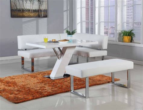 linden dining table nook set  white  chintaly