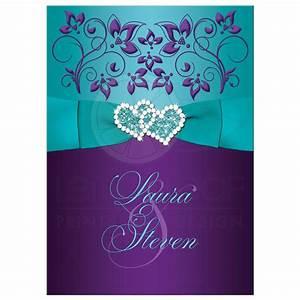 wedding invitation purple aqua white floral printed With wedding invitation designs aqua blue