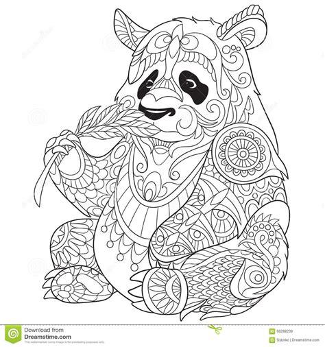 zentangle stylized panda stock vector image  floral