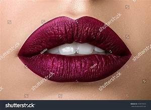 Close View Beautiful Woman Lips Purple Stock Photo ...