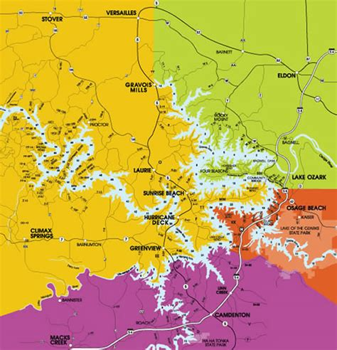 Lake Of The Ozarks Boating Map by Lake Of The Ozarks Region Map