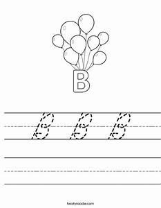 B b b worksheet cursive twisty noodle for Cursive letter balloons