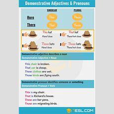 Demonstrative Adjectives & Pronouns Thisthatthesethose  7 E S L