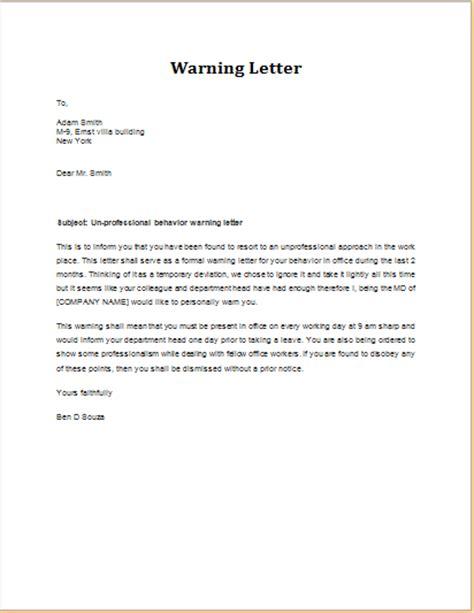 warning letter  unprofessional behavior word excel