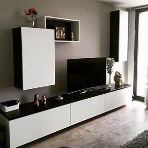 Meuble Tv Sur Mesure En Mdium Laqu Noir Et Blanc Lille