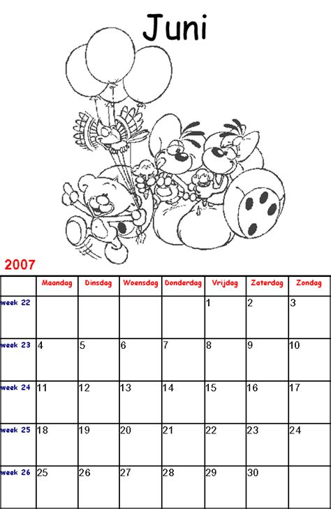 Kleurplaat Juni by Diddl Kalender Kinder Kleurplaten