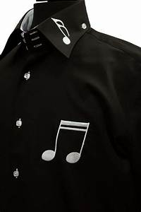 Pure Charts Mens Axxess Black White Music Notes High Collar Cotton