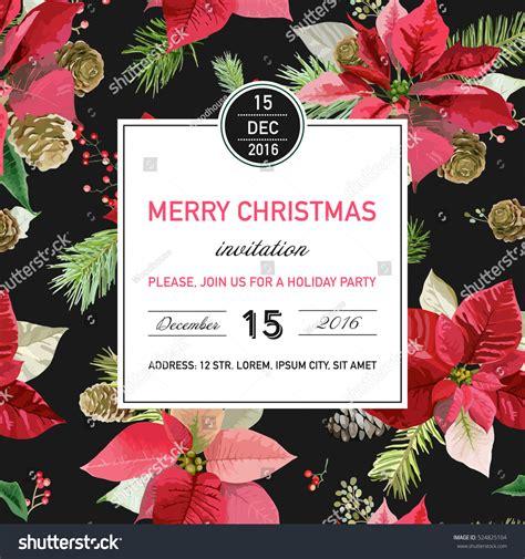 Vintage Poinsettia Christmas Invitation Card Winter Stock