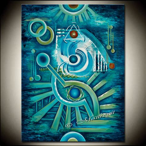 Original Turquoise Blue Large Abstract Painting Modern Art