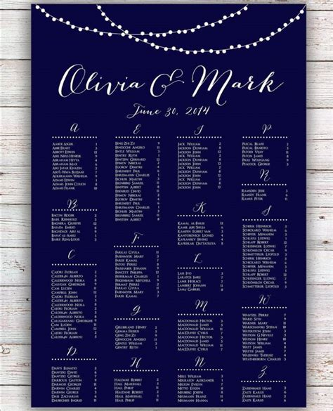 wedding seating chart poster template