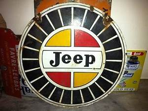 Willys Jeep Red and Yellow Round Porcelain Sign