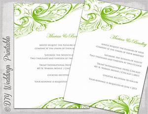 wedding invitation template green diy by diyweddingsprintable With free editable wedding invitation templates for word