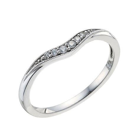 9ct white gold shaped pave wedding band