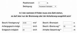 Kmh Berechnen : bremswegrechner bremsweg anhalteweg berechnen strommer johannes ~ Themetempest.com Abrechnung