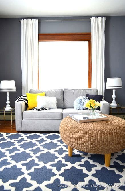 gray blue rug blue and yellow pillows right up my alley home decor inspiration
