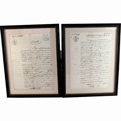 French Documents Legal Antique Framed Document Signed
