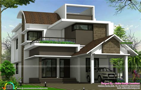 curved roof mix contemporary  sq ft home contemporary house plans modern house plans