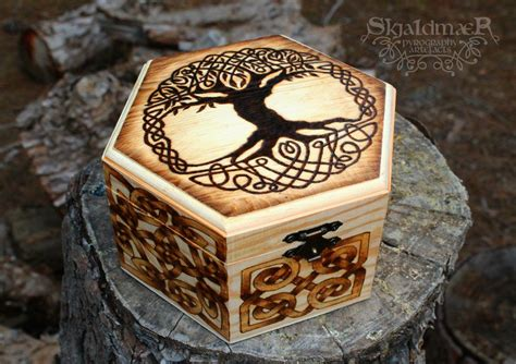 Celtic Viking Tree Of Life Pyrography Box By Skjaldmaerpyrography